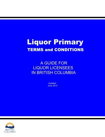 Liquor-Primary Licence Terms and Conditions