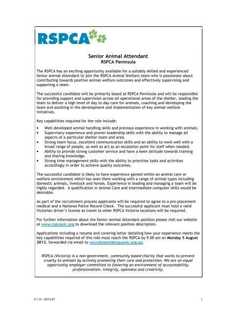 Senior Animal Attendant - RSPCA Victoria