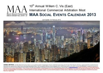 maa social events calendar 2013 - the Moot Alumni Association