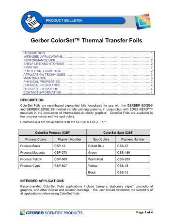 Gerber ColorSet™ Thermal Transfer Foils - Gerber Scientific Products