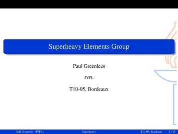Superheavy Elements Group - University of Liverpool