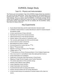 Summary of all specimen experiments - Nuclear Physics