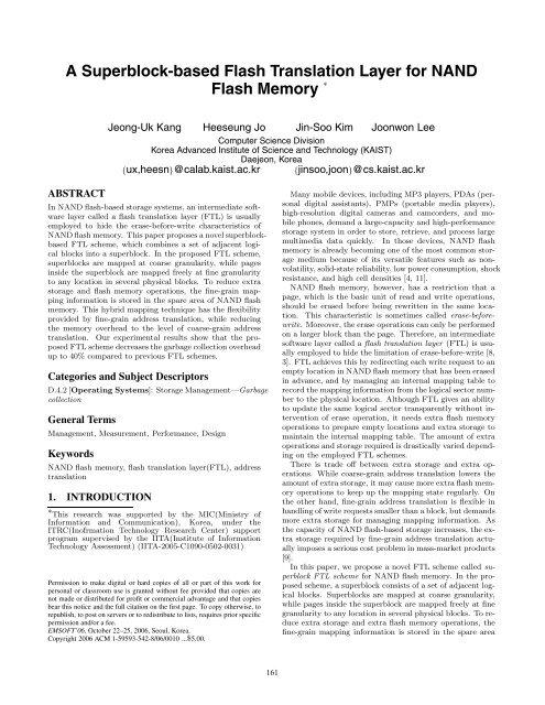 A Superblock-based Flash Translation Layer for NAND     - CECS