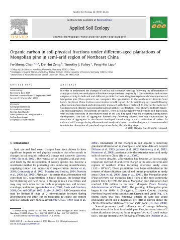 Organic carbon in soil physical fractions under different-aged ...