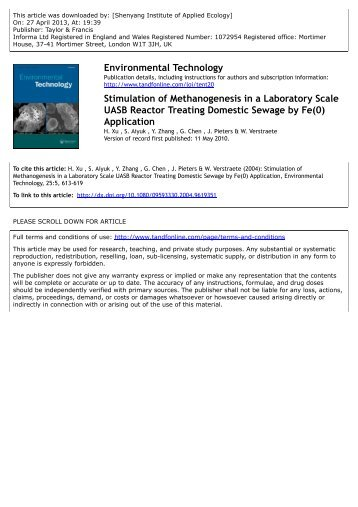 Stimulation of Methanogenesis in a Laboratory Scale UASB Reactor ...
