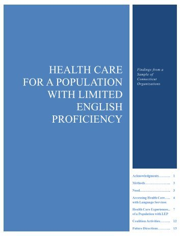 Health Care for A population WITH LIMITED ENGLISH PROFICIENCY