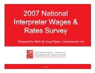 2007 National Interpreter Wages & Interpreter Wages & Rates ... - IMIA