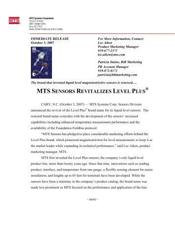 MTS SENSORS REVITALIZES LEVEL PLUS