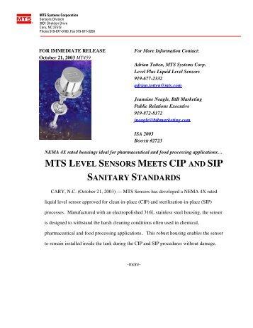 mts level sensors meets cip and sip sanitary standards - MTS Sensors