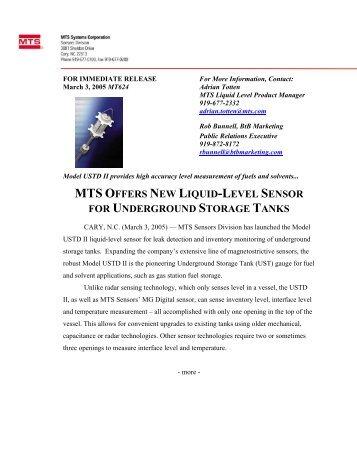mts offers new liquid-level sensor for underground ... - MTS Sensors