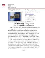 mts expands tank level monitoring panel options - MTS Sensors