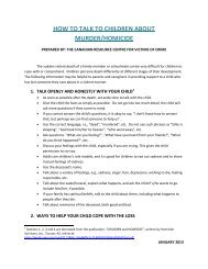 how to talk to children about murder/homicide - Canadian Resource ...