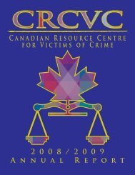 Canadian Resource Centre for Victims of Crime 2 0 0 8 / 2 0 0 9 A ...