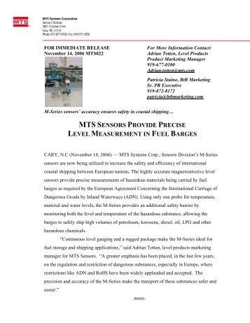 mts sensors provide precise level measurement in fuel barges
