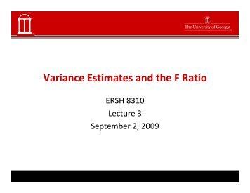 Variance Estimates and the F Ratio