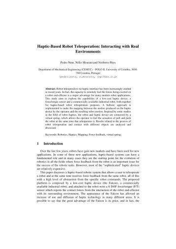 Haptic-Based Robot Teleoperation: Interacting with Real ...