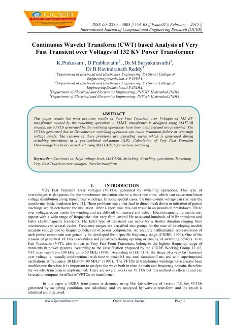 Continuous Wavelet Transform (CWT) based Analysis of Very