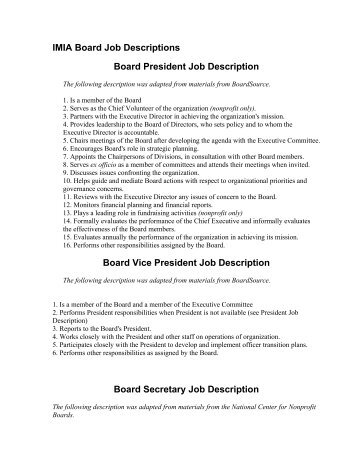 3 (Job Description For The President And CEO)