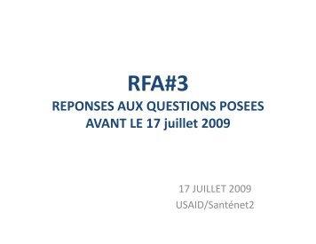 Réponses aux questions posées avant le 17 juillet 2009