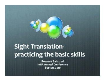 Sight Translation- practicing the basic skills
