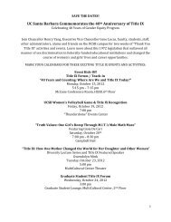 UC Santa Barbara Commemorates the 40th Anniversary of Title IX