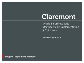 Oracle E-Business Suite Upgrade vs. Re-Implementation ... - Workcast