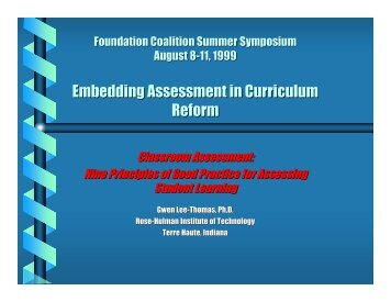 Embedding Assessment in Curriculum Reform