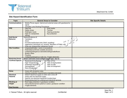 Commercial Estates - Site Hazard Identification Form ... on
