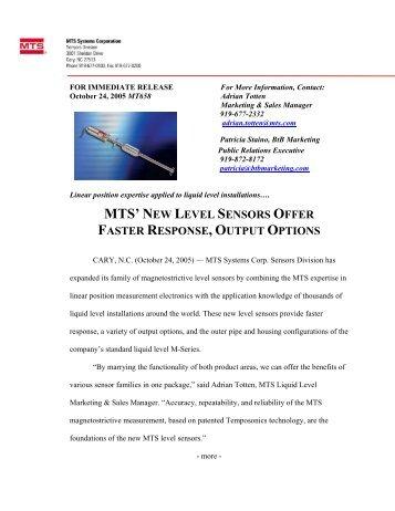 MTS' NEW LEVEL SENSORS OFFER - MTS Sensors