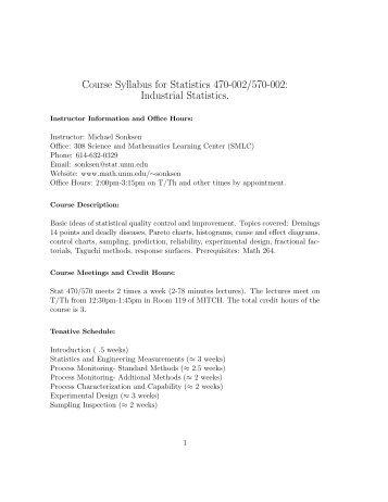 Course Syllabus - Department of Mathematics and Statistics