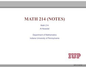 Part 1 - Department of Mathematics and Statistics