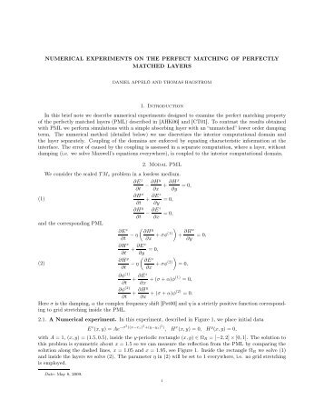 NUMERICAL EXPERIMENTS ON THE PERFECT MATCHING OF ...