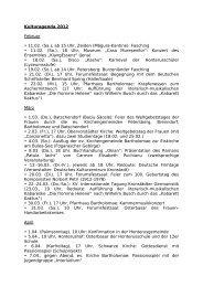 Kulturagenda 2012 Februar • 11.02. (Sa.), ab 15 Uhr, Zeiden ...