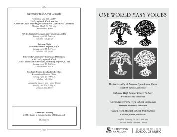 ONE WORLD MANY VOICES - School of Music - University of Arizona