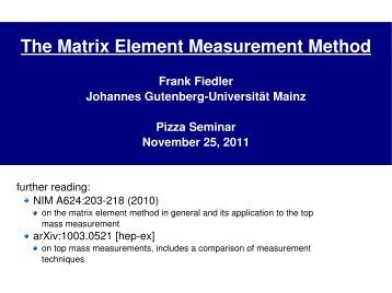 The Matrix Element Measurement Method