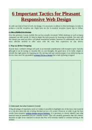 6 Important Tactics for Pleasant Responsive Web Design