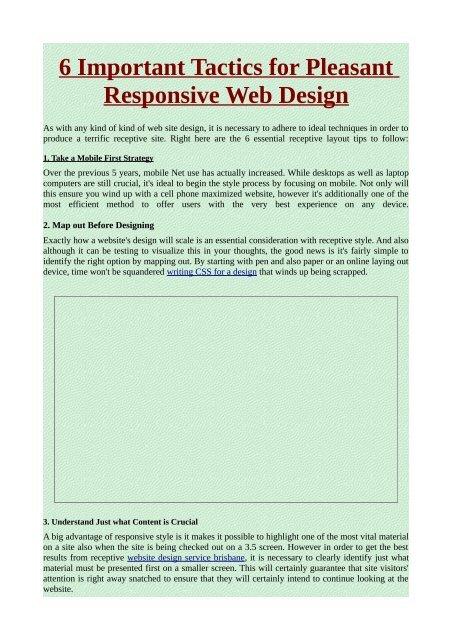 6 Important Tactics for Pleasant Responsive Web Design