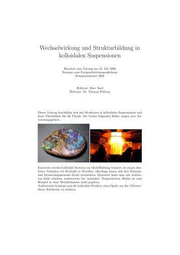 Wechselwirkung und Strukturbildung in kolloidalen Suspensionen