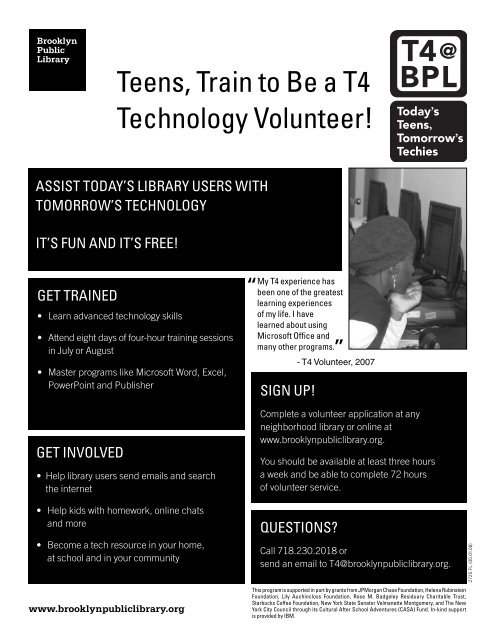 Teens, Train to Be a T4 Technology Volunteer!