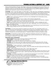 personal clothing & equipment list - canoe - High Pointe Church