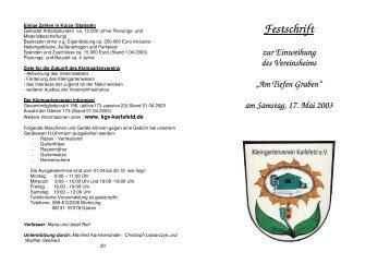 Festschrift - Blatt 1 - Kleingartenverein Karlsfeld eV