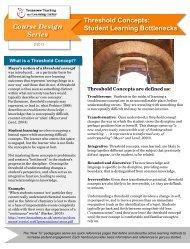 Threshold Concepts: Student Learning Bottlenecks Course Design ...