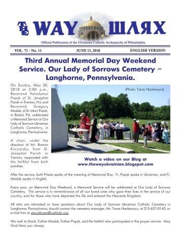 06/13/10 - Ukrainian Catholic Archeparchy of Philadelphia