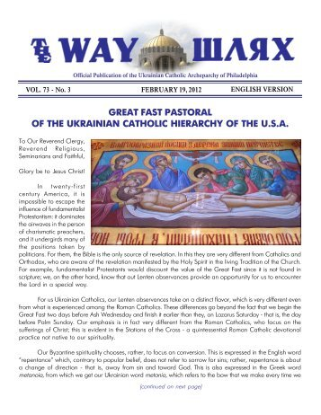 The Way - Ukrainian Catholic Archeparchy of Philadelphia