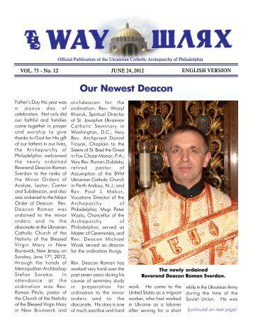 06/24/12 - Ukrainian Catholic Archeparchy of Philadelphia