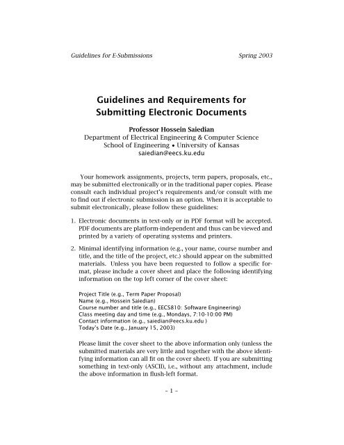 Guidelines and Requirements for Submitting Electronic