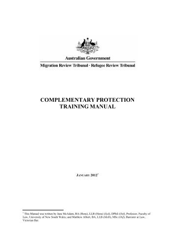 COMPLEMENTARY PROTECTION TRAINING MANUAL - UNSW Law