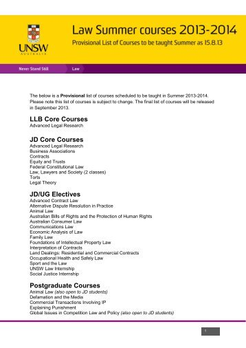 Law Timetable Planner - UNSW Law