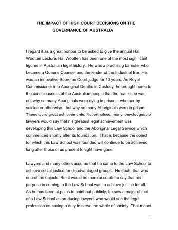 THE IMPACT OF HIGH COURT DECISIONS ON THE ... - UNSW Law