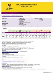 LAW JURIS DOCTOR TIMETABLE - UNSW Law